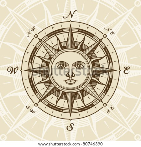 Vintage sun compass rose. Vector - stock vector