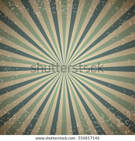 Vintage sunburst vector background with blue rays. - stock vector