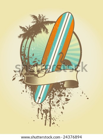 vintage surf emblem with classic longboard and floral elements - stock vector
