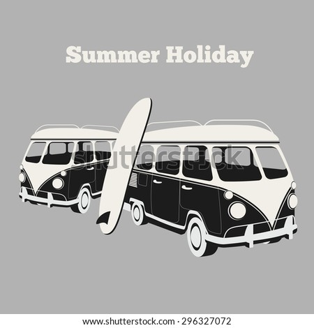 Vintage surf poster. Van and surfing, design car, vacation and travel camping, surfboard and sport, vector illustration - stock vector