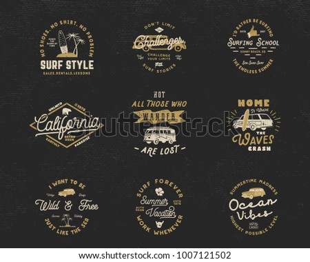 Vintage Surfing Graphics Emblems Set Web Stock Vector (2018 ...