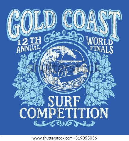 Vintage Surfing T-shirt Graphic Design. Gold Coast Surf Competition. - stock vector