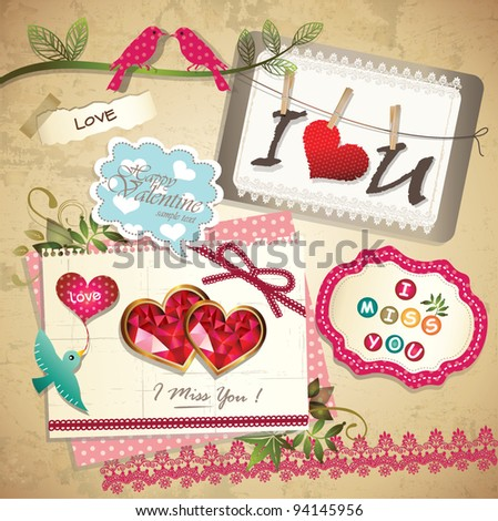 Vintage sweet memo scrapbook elements - stock vector