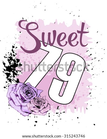 Vintage sweet print and number on white background. For t-shirt or other uses, in vector.