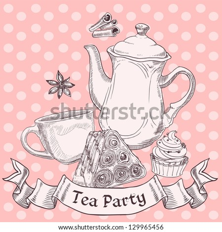 Vintage sweets and tea - tea party banner - stock vector