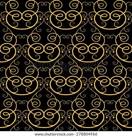 Vintage swirl calligraphy seamless pattern background, Vector background for textile design. Wallpaper, background, premium line art pattern - stock vector