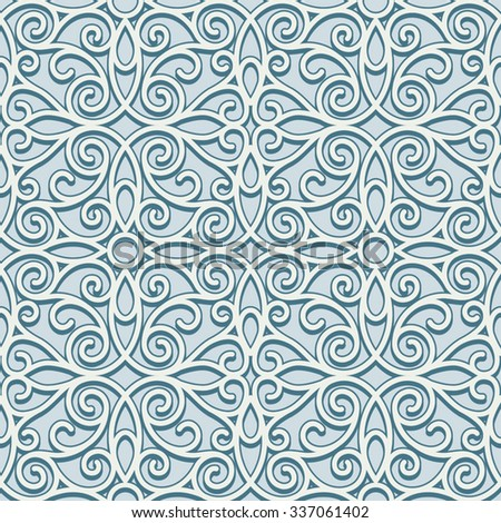 Vintage swirly ornament, vector seamless pattern in neutral color - stock vector