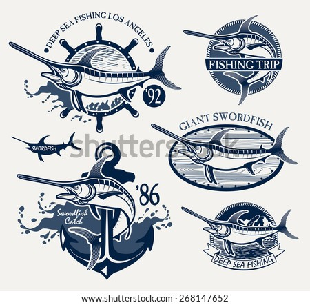 Vintage swordfish fishing emblems, labels and design elements - stock vector