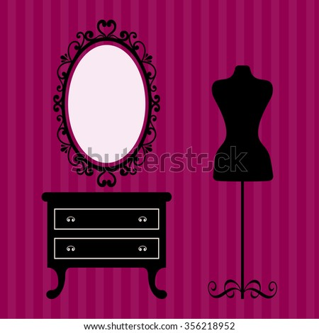 vintage table and mirror oval and mannequin on the background - stock vector