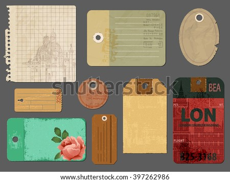 Vintage Tags and Scraps of Paper - Set of tattered vintage tags, torn notepaper pages and luggage tags, to be used for scrapbooks, journals, picture albums and as graphic resources for print - stock vector