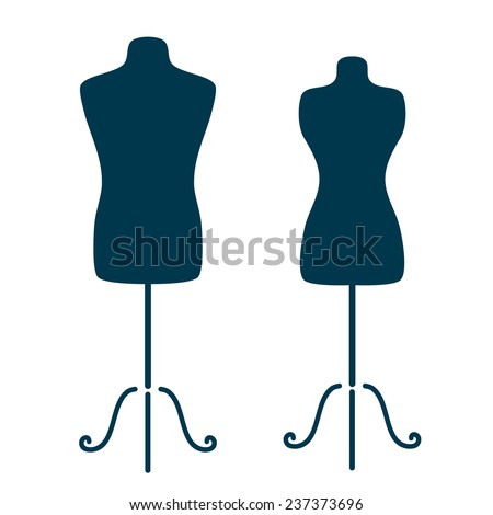 Vintage tailor's mannequin for female and male body isolated on white background. Man body mannequin. Woman body mannequin. Mannequin vector illustration. - stock vector