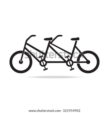 vintage tandem bicycle vector illustration - stock vector
