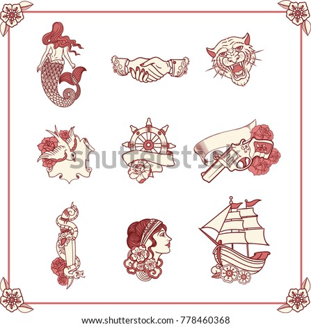 Vintage Tattoos Classic Old School Style Stock Vector Hd Royalty