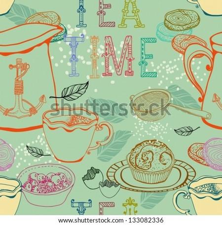 Vintage tea background. seamless pattern for design, vector - stock vector