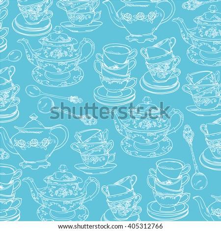 vintage tea porcelain. seamless pattern - stock vector