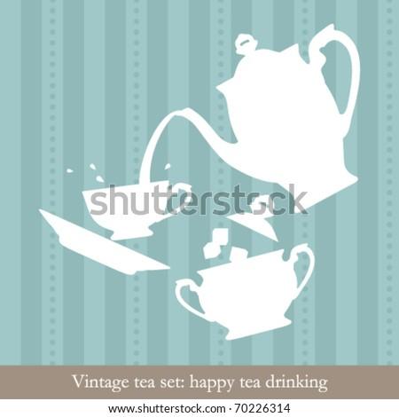 Vintage tea set. Happy tea drinking - stock vector
