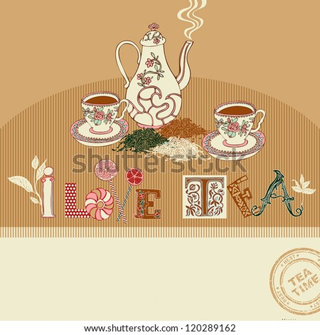 Vintage tea time greeting card on abstract background, colorful, graphic vintage cups and teapot, retro pattern with creative tea, cup, cake, teapot, lemon, sweet candy and leaf ornaments for design - stock vector