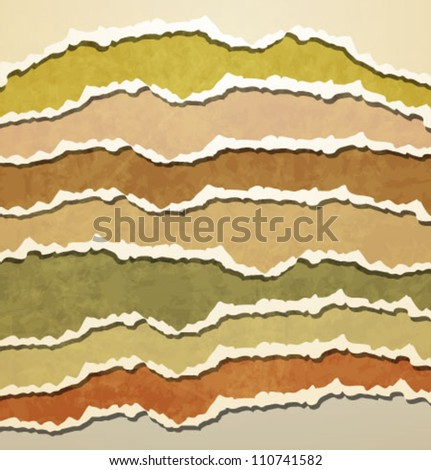 Vintage Teared Papers - stock vector