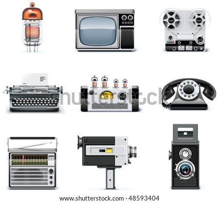 Vintage technologies icon set - stock vector