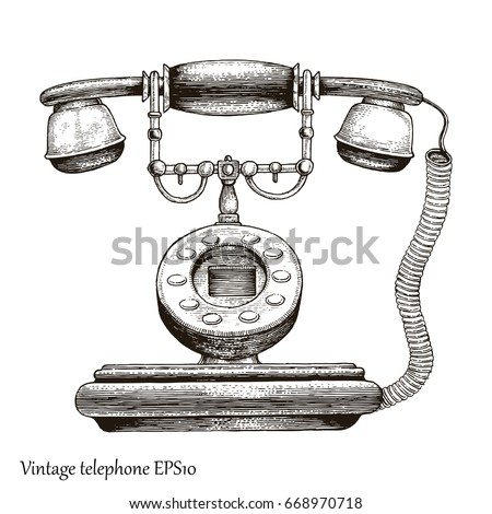Vintage Telephone Hand Drawing Engraving Style Stock Vector 668970718