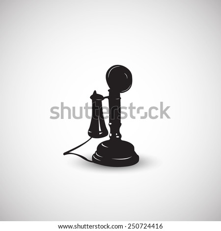 Vintage telephone icon illustration in black style - stock vector