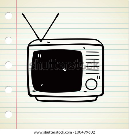 vintage television - stock vector