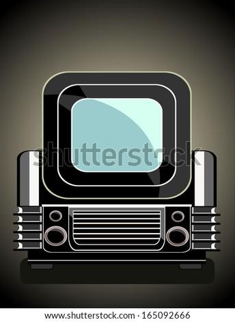 Vintage television - stock vector