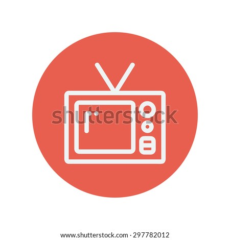 Vintage television thin line icon for web and mobile minimalistic flat design. Vector white icon inside the red circle. - stock vector