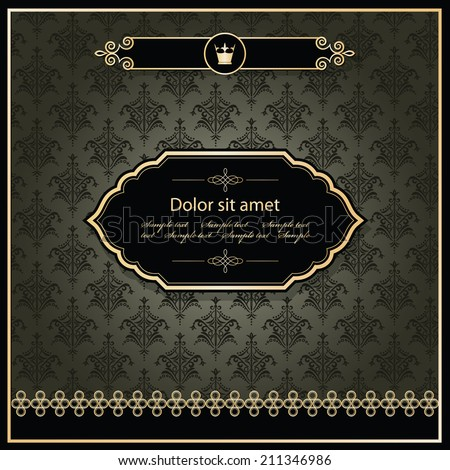 Vintage template. Elegant gold frame on damask background. Royal style. - stock vector
