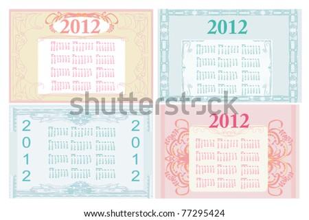 Vintage template for calendar 2012 set - stock vector
