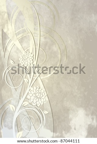 Vintage template for greeting card or background with flowers and swirls - stock vector