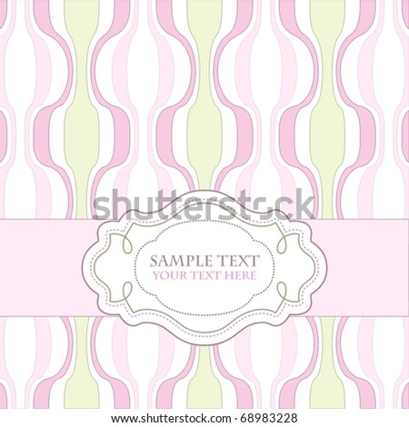 Vintage template frame design for greeting card, raster version also available in my portfolio - stock vector
