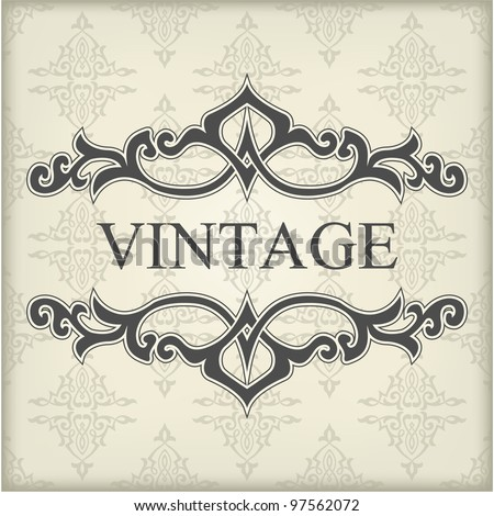 Vintage template with floral frame - stock vector