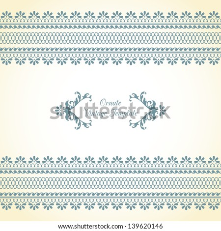 Vintage template with ornament - stock vector