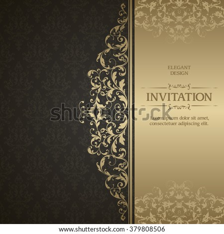 Vintage template with pattern and ornate border. Ornamental lace pattern for wedding invitation, greeting card, certificate. Black and gold ornate background - stock vector