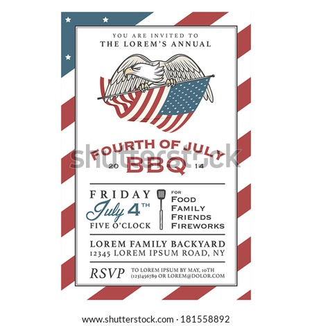 Vintage 4th of July Independence Day barbecue invitation - stock vector