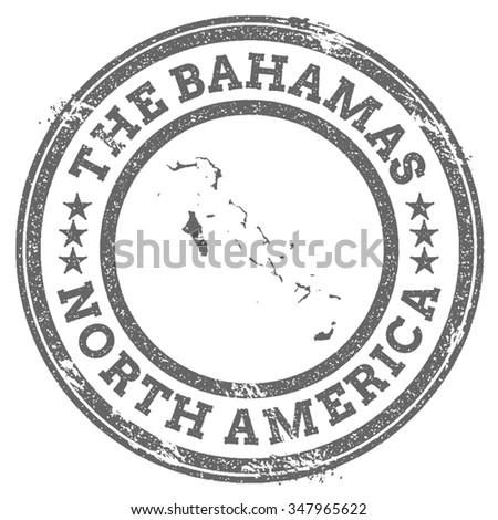 Vintage The Bahamas stamp with continent name. Grunge rubber stamp map with North America and The Bahamas text, vector illustration