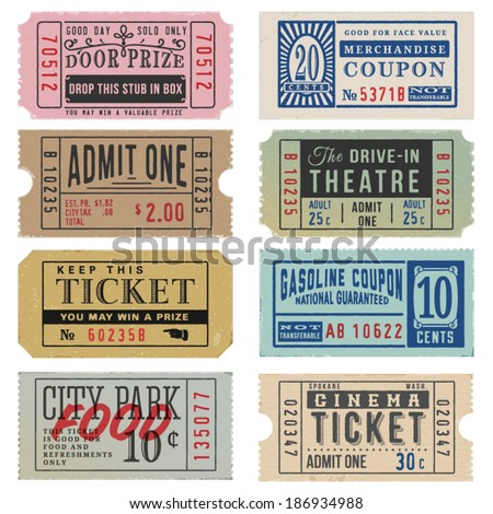 Vintage Theater Tickets Coupons Stock Vector 186934988