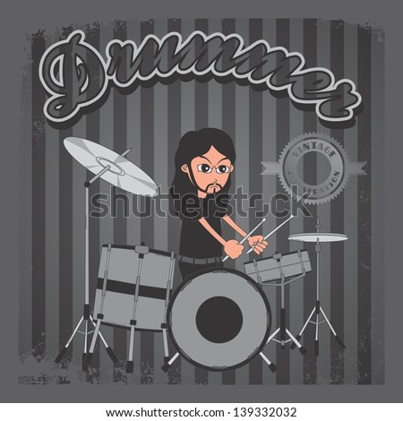 vintage theme music band - stock vector