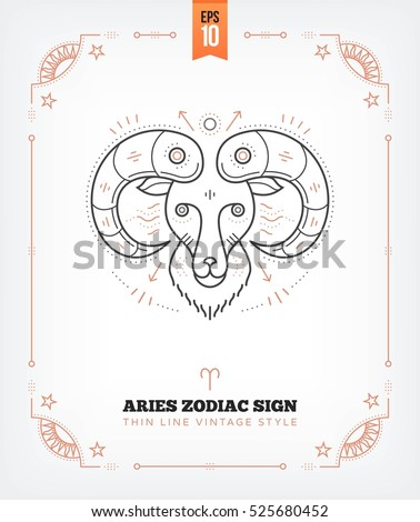 Vintage Thin Line Aries Zodiac Sign Stock Vector 2018 525680452
