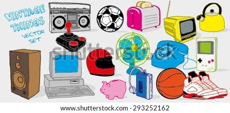 Vintage Things Vector Set / Electronic Goods Vector Set / Electric Goods Vector Set - stock vector