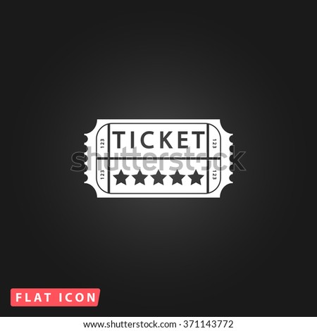 Vintage Ticket. White flat simple vector icon on black background. Icon JPEG JPG. Icon Picture Image. Icon Graphic Art. Icon EPS AI. Icon Drawing Object. Icon Path UI - stock vector