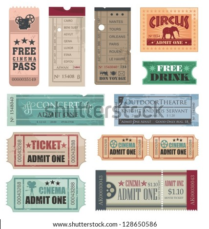 Vintage Tickets - stock vector