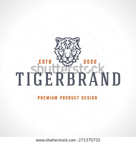 Vintage Tiger Logotype or mascot emblem symbol. Can be used for T-shirts print, labels, badges, stickers, vector illustration. - stock vector