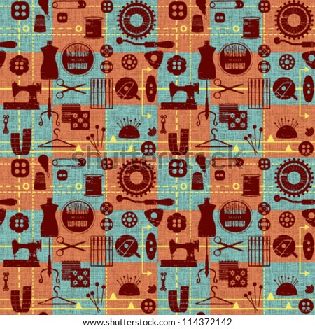 Vintage tiled seamless background with sewing and tailoring symbols - stock vector