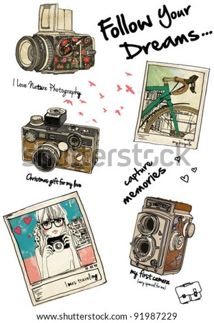 vintage time illustration fashion girl and camera - stock vector