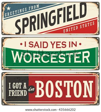 Vintage tin sign collection with USA city names. Retro souvenir sign or postcard templates. Traveling theme. - stock vector