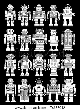 Vintage Tin Toy Robot Collection in Black Background - stock vector