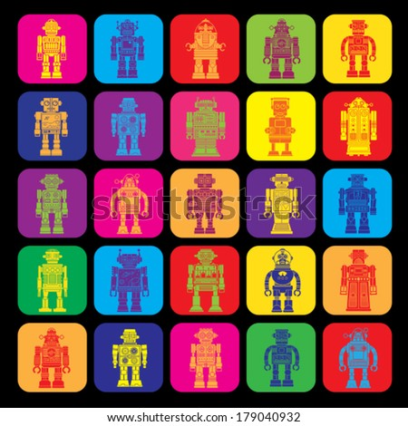 Vintage Tin Toy Robot Icons  - stock vector