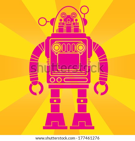 Vintage Tin Toy Robot Pop Art Design - stock vector